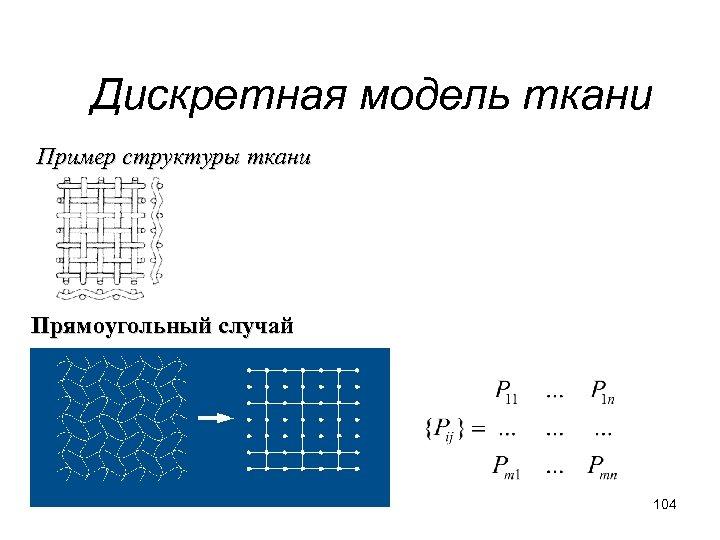 Дискретная модель ткани Пример структуры ткани Прямоугольный случай 104
