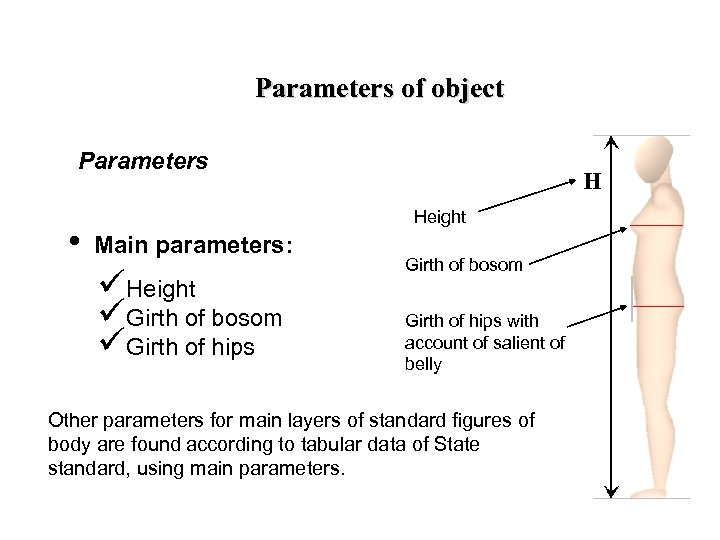 Parameters of object Parameters • H Height Main parameters: üHeight üGirth of bosom üGirth