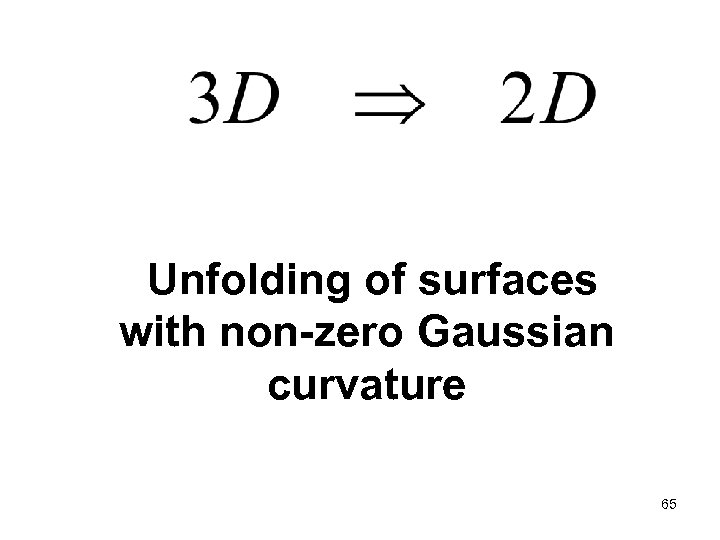 Unfolding of surfaces with non-zero Gaussian curvature 65