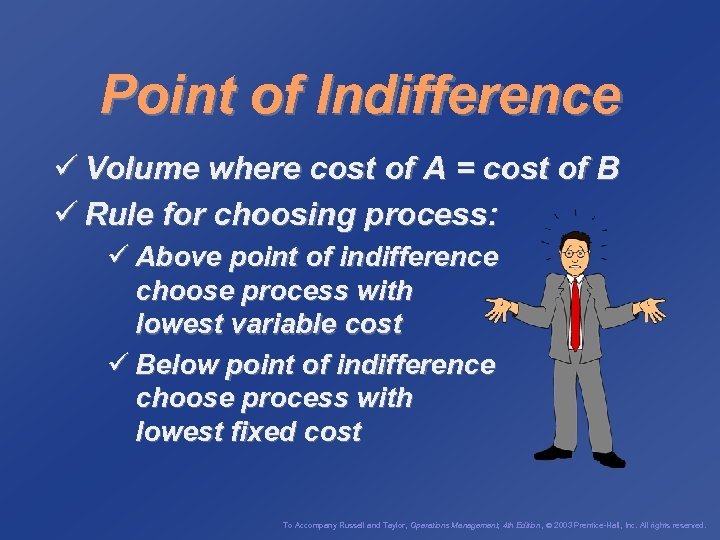 Point of Indifference ü Volume where cost of A = cost of B ü