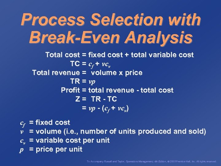 Process Selection with Break-Even Analysis Total cost = fixed cost + total variable cost