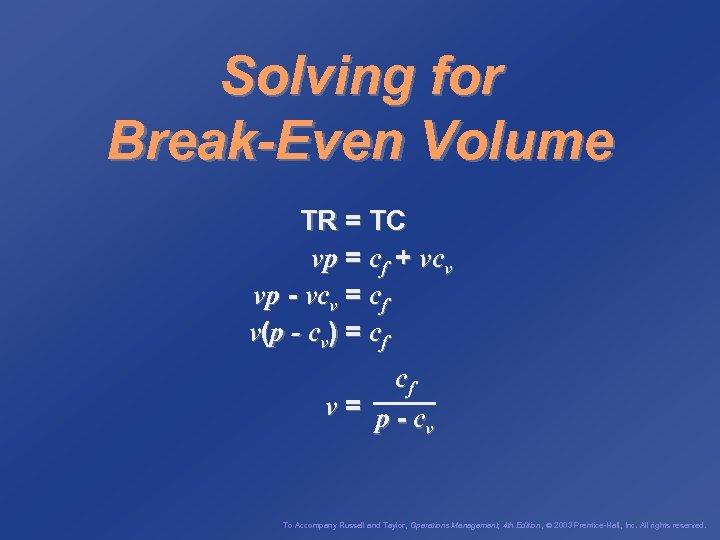 Solving for Break-Even Volume TR = TC vp = cf + vcv vp -