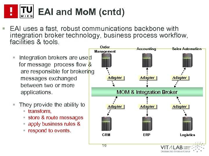 EAI and Mo. M (cntd) § EAI uses a fast, robust communications backbone with
