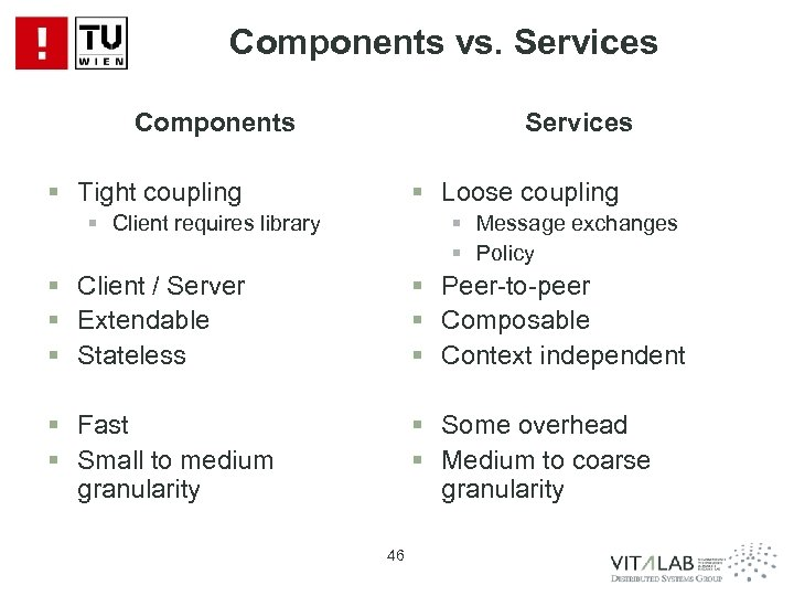 Components vs. Services Components Services § Tight coupling § Loose coupling § Client requires