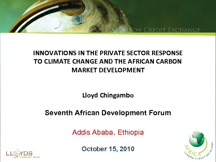 INNOVATIONS IN THE PRIVATE SECTOR RESPONSE TO CLIMATE CHANGE AND THE AFRICAN CARBON MARKET