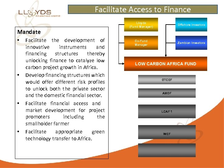 Facilitate Access to Finance Mandate • • Facilitate the development of innovative instruments and