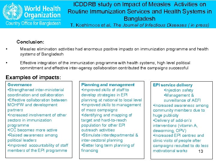 ICDDRB study on Impact of Measles Activities on Routine Immunization Services and Health Systems