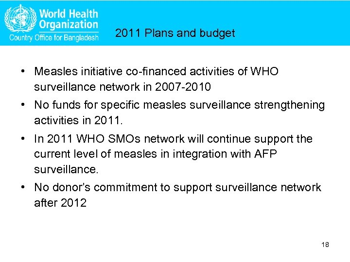 2011 Plans and budget • Measles initiative co-financed activities of WHO surveillance network in