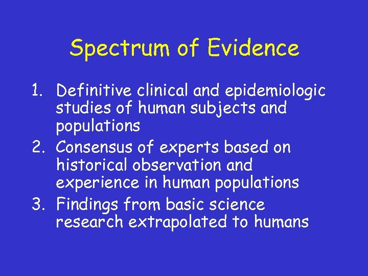 Spectrum of Evidence 1. Definitive clinical and epidemiologic studies of human subjects and populations