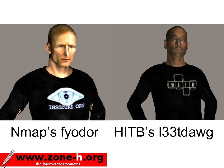 Nmap's fyodor www. zone-h. org the Internet thermometer HITB's l 33 tdawg