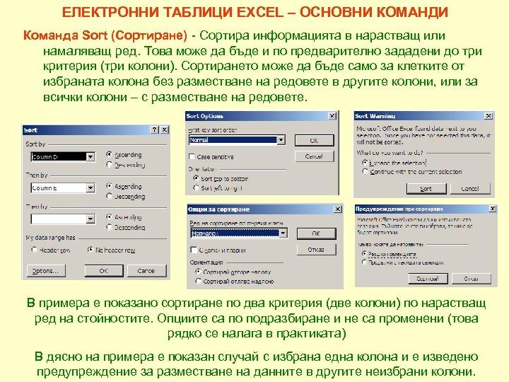 ЕЛЕКТРОННИ ТАБЛИЦИ EXCEL – ОСНОВНИ КОМАНДИ Команда Sort (Сортиране) - Сортира информацията в нарастващ