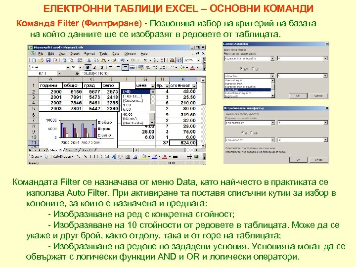 ЕЛЕКТРОННИ ТАБЛИЦИ EXCEL – ОСНОВНИ КОМАНДИ Команда Filter (Филтриране) - Позволява избор на критерий