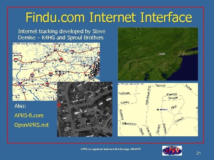 Findu. com Internet Interface Internet tracking developed by Steve Demise – K 4 HG