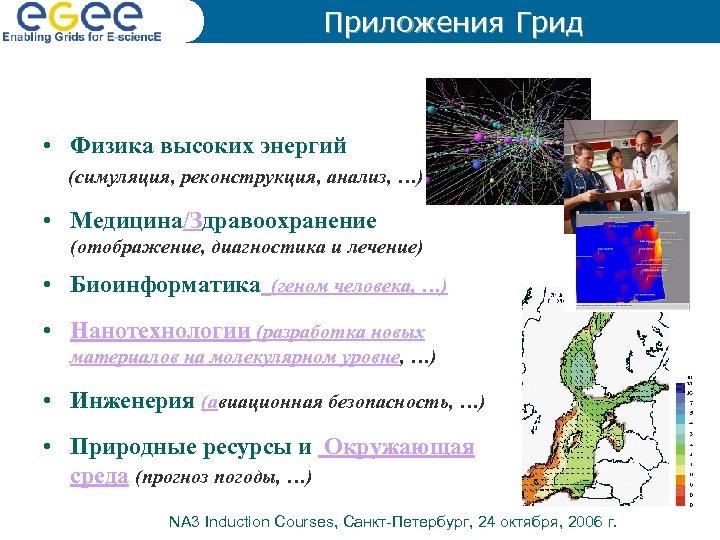 Приложения Грид • Физика высоких энергий (симуляция, реконструкция, анализ, …) • Медицина/Здравоохранение (отображение, диагностика