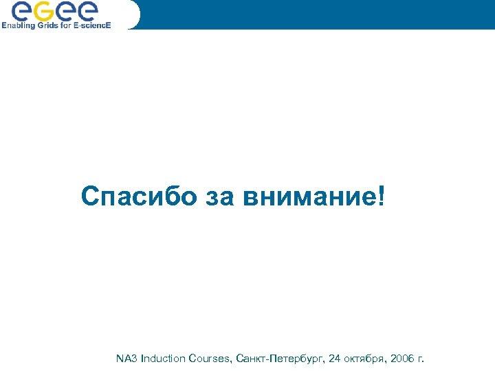Спасибо за внимание! NA 3 Induction Courses, Санкт-Петербург, 24 октября, 2006 г.