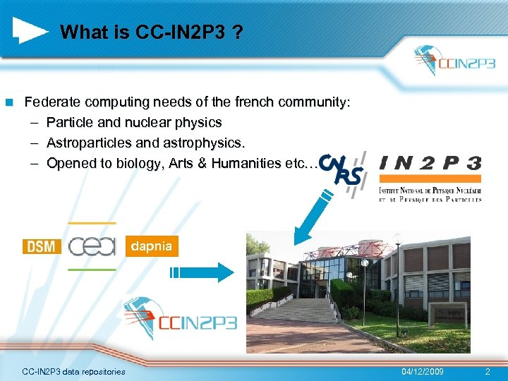 What is CC-IN 2 P 3 ? n Federate computing needs of the french
