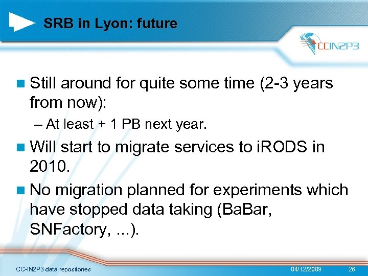 SRB in Lyon: future n Still around for quite some time (2 -3 years