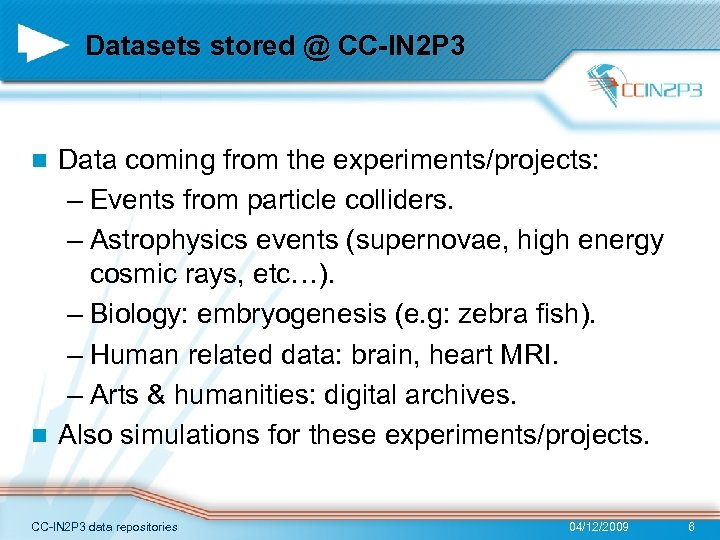 Datasets stored @ CC-IN 2 P 3 Data coming from the experiments/projects: – Events