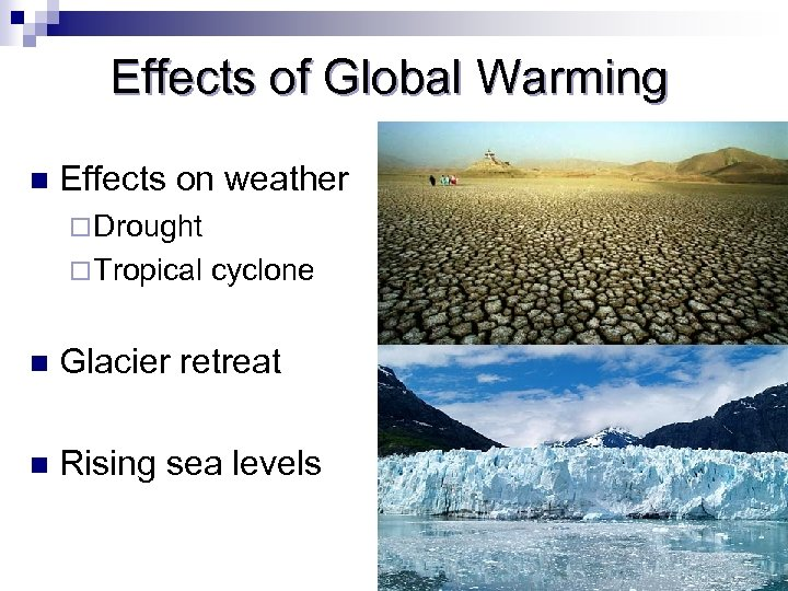Effects of Global Warming n Effects on weather ¨ Drought ¨ Tropical cyclone n