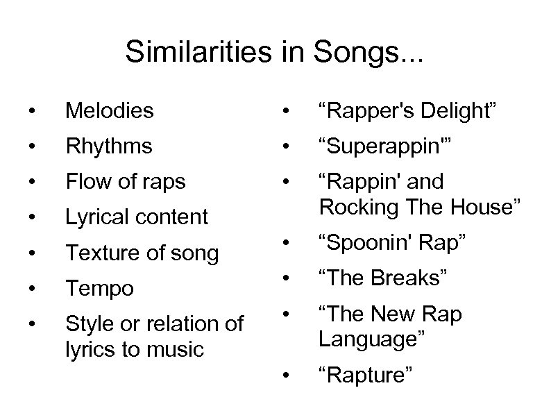 """Similarities in Songs. . . • Melodies • """"Rapper's Delight"""" • Rhythms • """"Superappin'"""""""