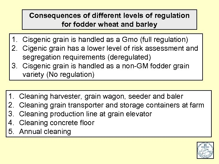 Consequences of different levels of regulation for fodder wheat and barley 1. Cisgenic grain