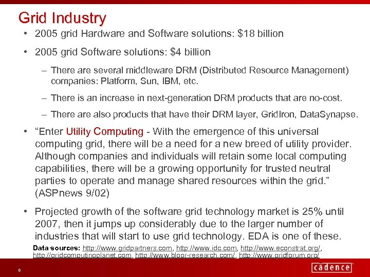 Grid Industry • 2005 grid Hardware and Software solutions: $18 billion • 2005 grid