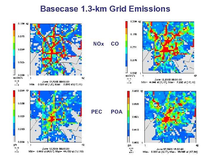 Basecase 1. 3 -km Grid Emissions NOx PEC CO POA
