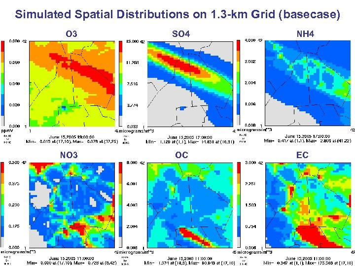 Simulated Spatial Distributions on 1. 3 -km Grid (basecase) O 3 SO 4 NO