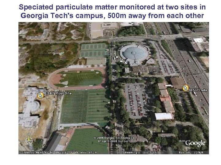 Speciated particulate matter monitored at two sites in Georgia Tech's campus, 500 m away