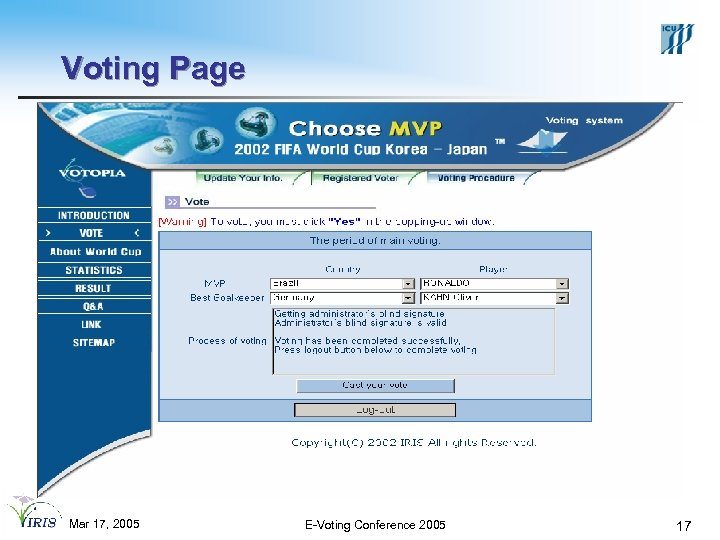 Voting Page Mar 17, 2005 E-Voting Conference 2005 17