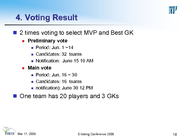 4. Voting Result n 2 times voting to select MVP and Best GK l