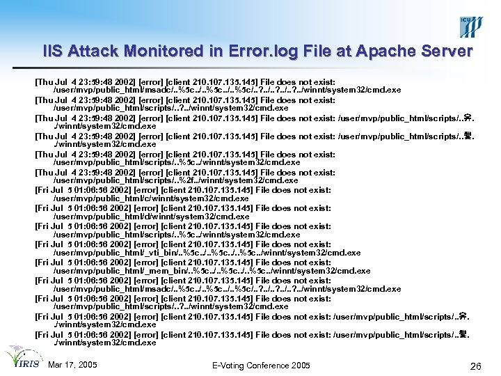 IIS Attack Monitored in Error. log File at Apache Server [Thu Jul 4 23: