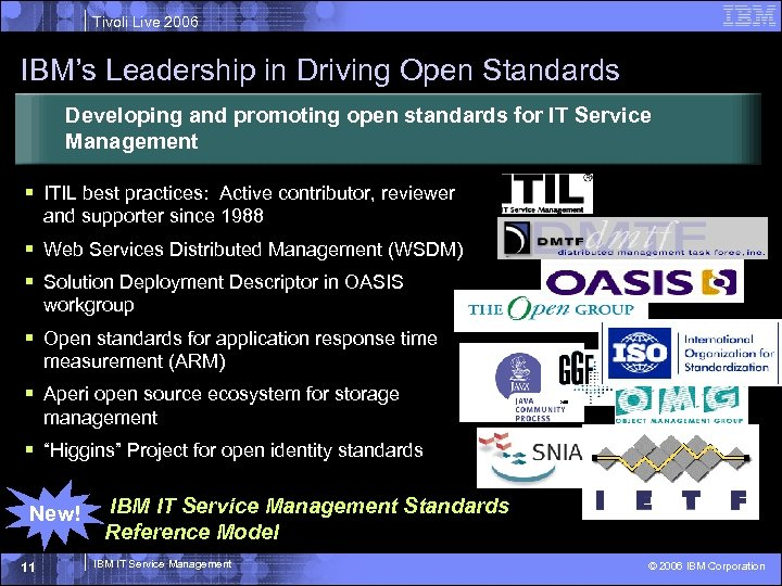 Tivoli Live 2006 IBM's Leadership in Driving Open Standards Developing and promoting open standards