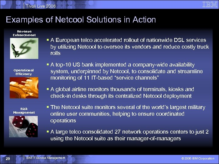 Tivoli Live 2006 Examples of Netcool Solutions in Action Revenue Enhancement § A European