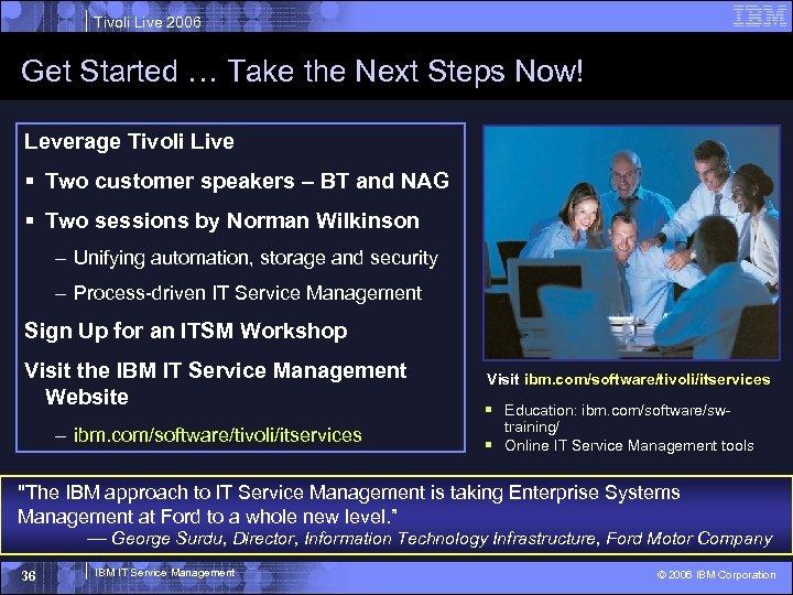 Tivoli Live 2006 Get Started … Take the Next Steps Now! Leverage Tivoli Live