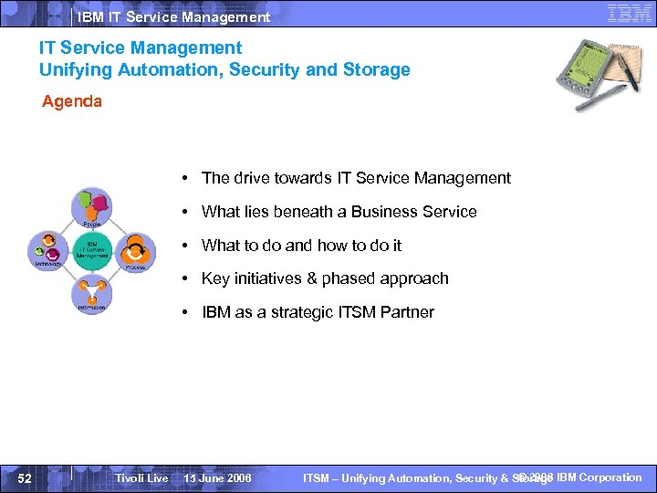 IBM IT Service Management Unifying Automation, Security and Storage Agenda • The drive towards