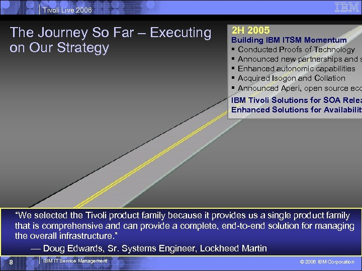 Tivoli Live 2006 The Journey So Far – Executing on Our Strategy 2 H