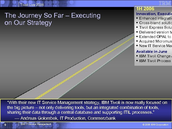 Tivoli Live 2006 The Journey So Far – Executing on Our Strategy 1 H