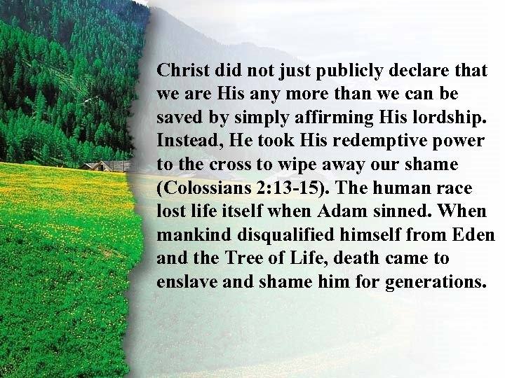 II. Christ did not just publicly declare that Ruth's Redemption E we are His