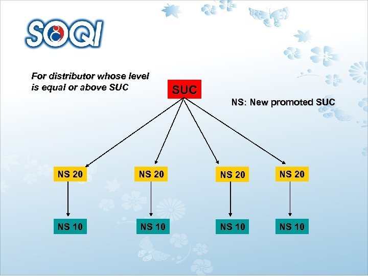 For distributor whose level is equal or above SUC NS: New promoted SUC NS