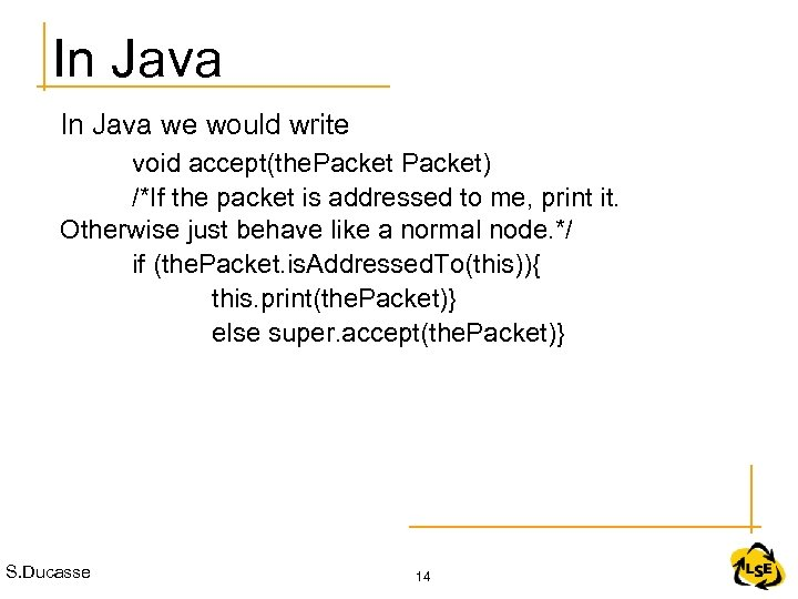 In Java we would write void accept(the. Packet) /*If the packet is addressed to