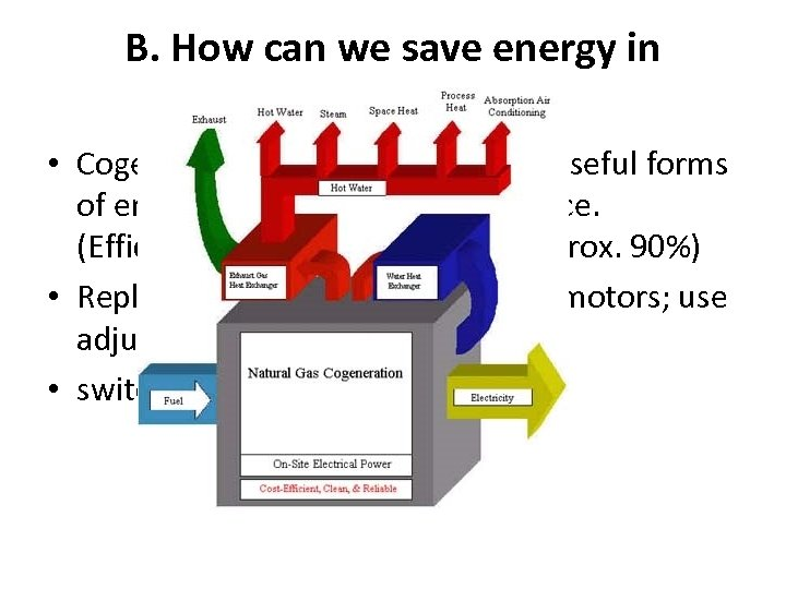 B. How can we save energy in industry? • Cogeneration- production of two useful