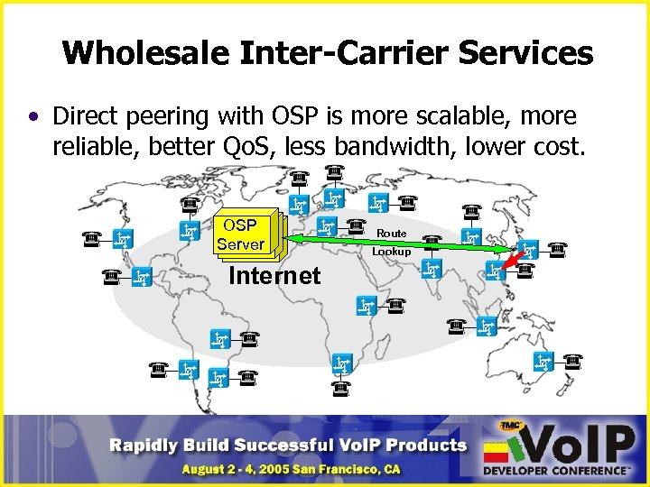 Wholesale Inter-Carrier Services • Direct peering with OSP is more scalable, more reliable, better