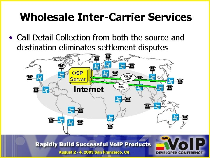 Wholesale Inter-Carrier Services • Call Detail Collection from both the source and destination eliminates