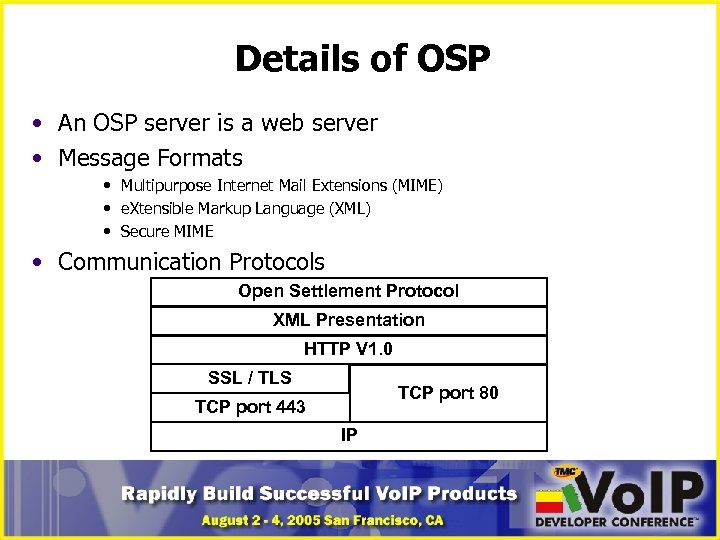 Details of OSP • An OSP server is a web server • Message Formats