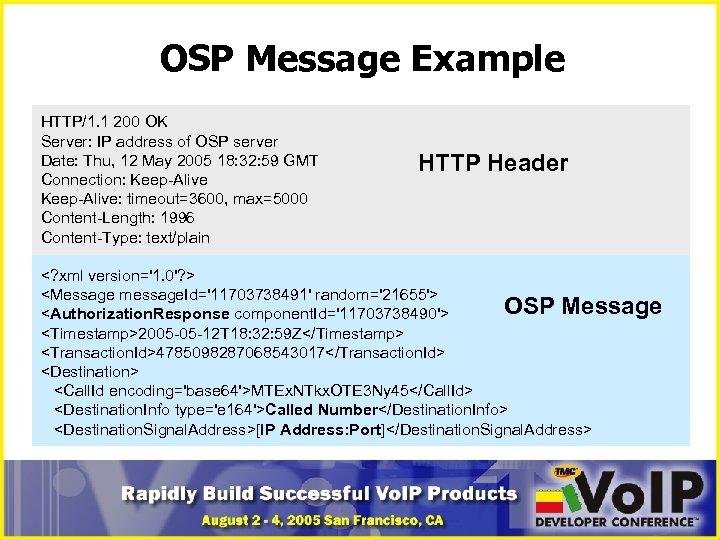 OSP Message Example HTTP/1. 1 200 OK Server: IP address of OSP server Date: