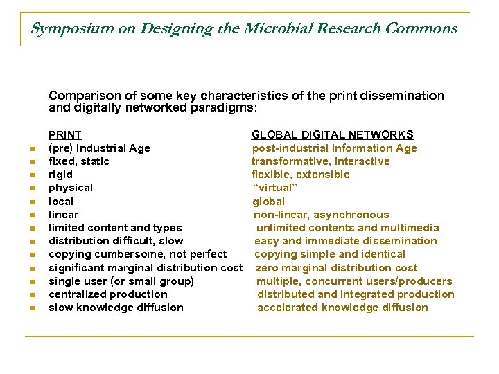 Symposium on Designing the Microbial Research Commons Comparison of some key characteristics of the