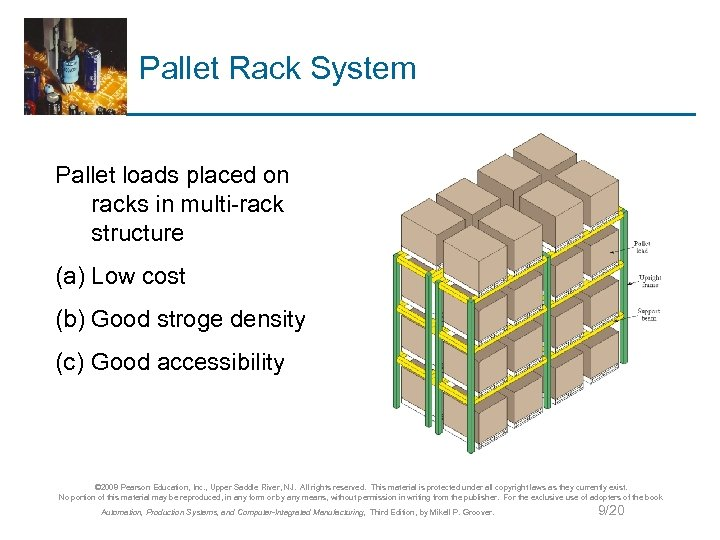 Pallet Rack System Pallet loads placed on racks in multi-rack structure (a) Low cost