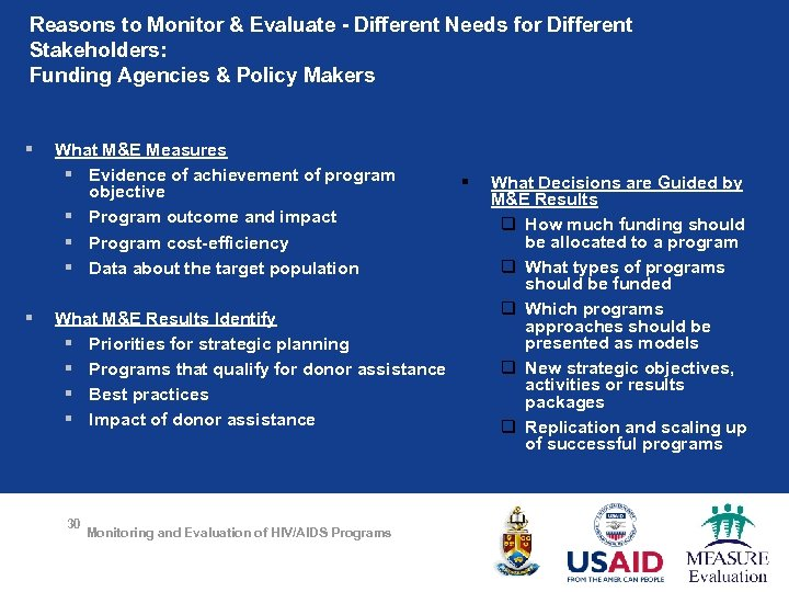 Reasons to Monitor & Evaluate - Different Needs for Different Stakeholders: Funding Agencies &
