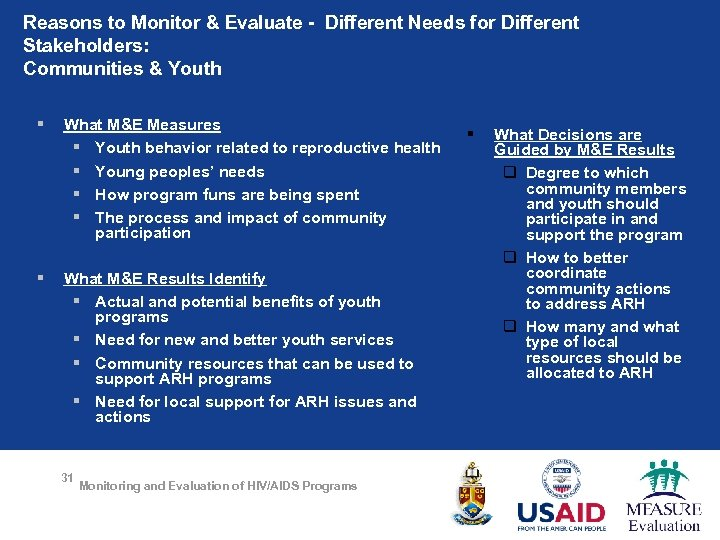 Reasons to Monitor & Evaluate - Different Needs for Different Stakeholders: Communities & Youth